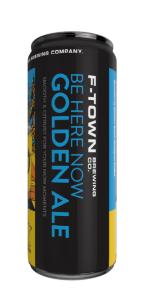 F-Town Brewing Company's Be Here Now Golden Ale package second side.